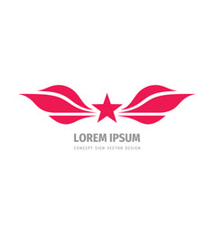 star and wings concept logo design business vector image