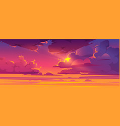 Sunset sky with sun peek out fluffy clouds vector