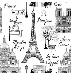 travel paris city seamless pattern europe famous vector image