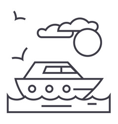 travel sea yacht line icon sign vector image