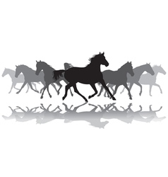 Trotting horses silhouette background vector image