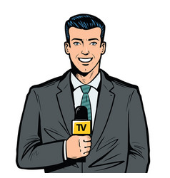 Tv presenter with microphone in hand breaking vector