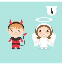 Two happy cute kids characters boy in imp vector
