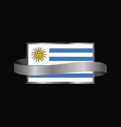 Uruguay flag ribbon banner design vector
