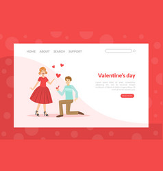 valentines day landing page template happy man vector image