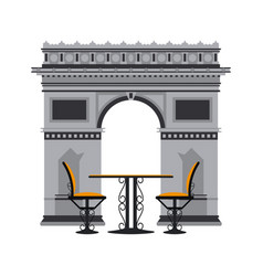Vintage table and chairs over arch of triumph vector