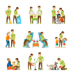 Volunteers and charity set vector