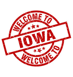 Welcome to iowa red stamp vector