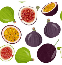 Whole fresh figs and half and passion fruit vector