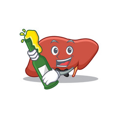 With beer liver mascot cartoon style vector