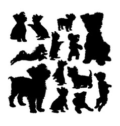 Yorkshire terrier dog animal silhouettes vector