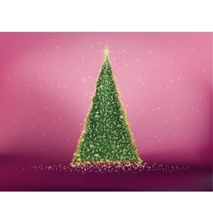 Abstract green christmas tree on red EPS 10 vector image vector image