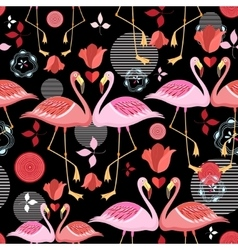 beautiful pattern lovers flamingos vector image