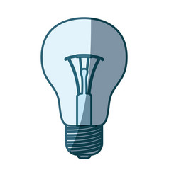 Blue shading silhouette of light bulb icon vector