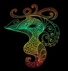bright mystical bird vintage psychedelic style vector image vector image