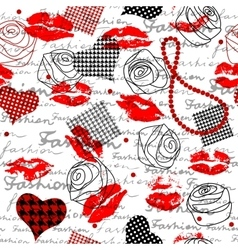 Fashion pattern with a lipsticks vector image vector image