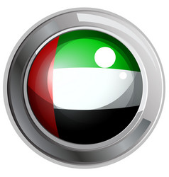 flag of arab emirates in round metal frame vector image vector image