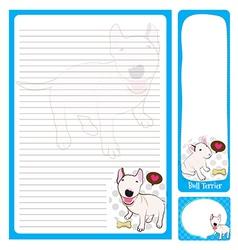 paper note bull terrier vector image