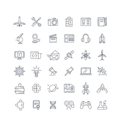 Science media and internet line icons set vector image