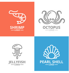 set of jellyfish and seafood shrimp shell vector image vector image