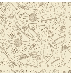 Sewing accessories seamless retro vector image