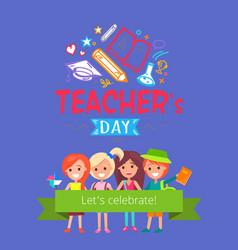 teachers day placard vector image vector image