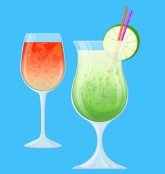 two fruit cocktails in transparent glasses vector image