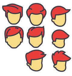 avatars male users red hairs concept line vector image vector image