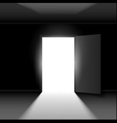 exit door with light on dark empty background vector image vector image