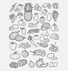 Fruits and vegetables icons sketch vector image
