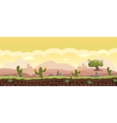 Horizontal Cartoon Background with Desert vector image