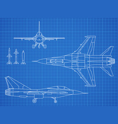 Military jet aircraft drawing blueprint vector