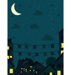 Night small town with moon vector image vector image