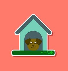 paper sticker on stylish background dog in booth vector image