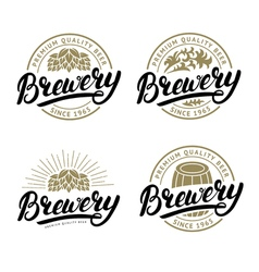 Set of Brewery hand written lettering logo label vector image