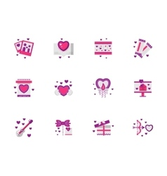 Bright pink love icons set vector image vector image