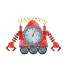 drawing clock robotic machine connection vector image