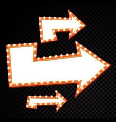 electric bulbs billboard retro arrow light frames vector image vector image