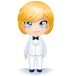 Groom Dressed In White Suite vector image vector image