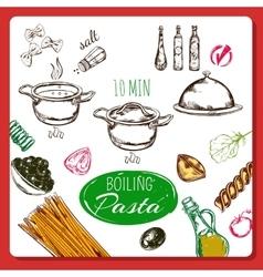 Home made pasta recipe vector