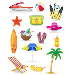 set of beach icons 03 vector image vector image