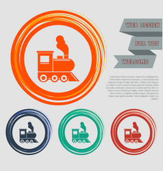 train old classic steam engine locomotive icon on vector image