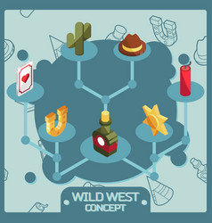 wild west color isometric concept icons vector image