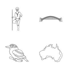 Aborigine with a spear sydney harbor bridge vector