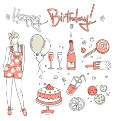 birthday girl vector image vector image