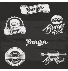 Burgers logo set in vintage style Retro hand vector image