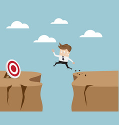 businessman jumping over cliff to target vector image vector image