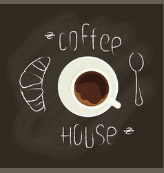 Chalk lettering and coffee vector