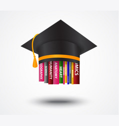 graduation cap with books concept vector image