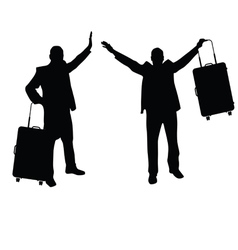 man set with travel bag silhouette in black vector image